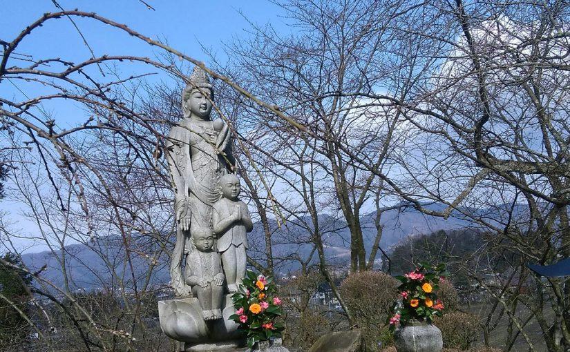 3月17日 おはようございます❗ 春めいて参りました。いつもの方が観音さまに花を供えて下さいました❗
