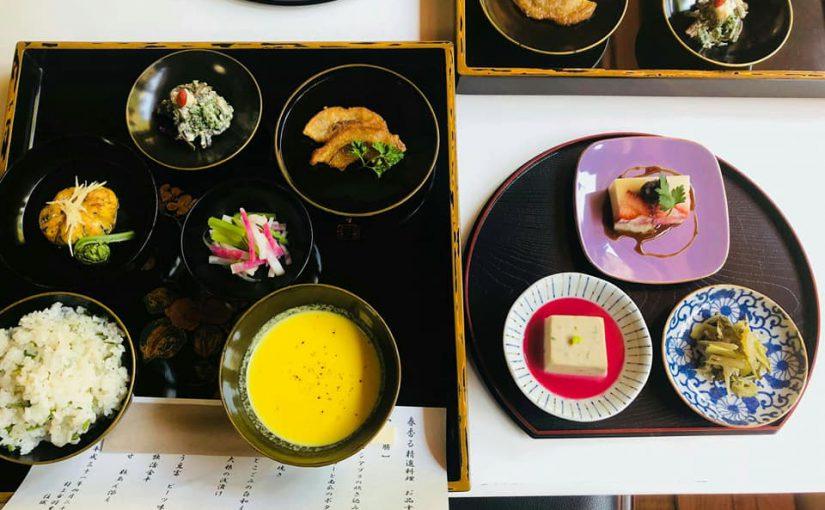 4月29日 快晴☀山サクラが満開です。ー新潟村上 普済寺ー 今日の精進料理42人でした。