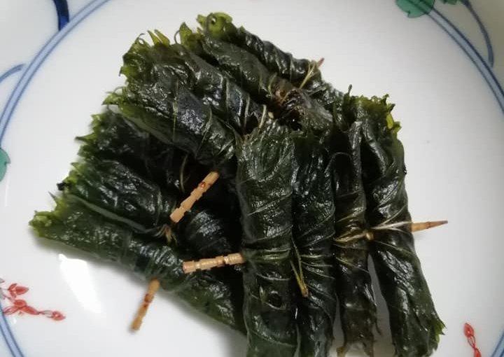8月29日 これは紫蘇巻き(しそまき)といい新潟の郷土料理(他県にもあるかも知りません)